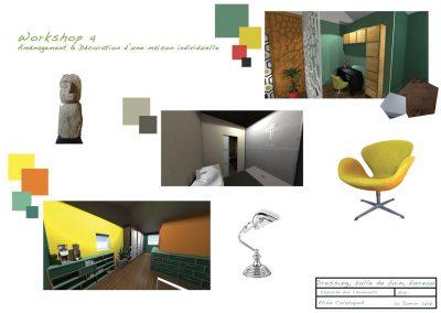 planche d'ambiance pour la décoration du projet d'aménagement du bureau du père par la déco d'élise