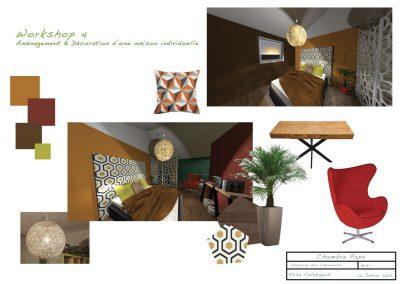 planche d'ambiance pour la décoration du projet d'aménagement de la chambre du père par la déco d'élise