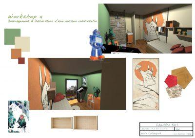 planche d'ambiance pour la décoration du projet d'aménagement d'une chambre d'enfants  par la déco d'élise