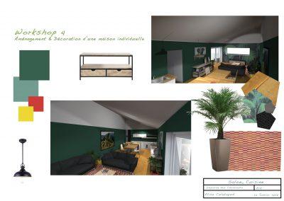 planche d'ambiance pour la décoration du projet d'aménagement du salon  par la déco d'élise