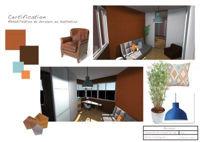 Planche ambiance d'un coin bureau dans le projet de déco d'un appartement