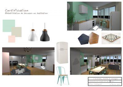 Planche d'ambiance de l'agencement de la cuisine après rénovation de l'appartement