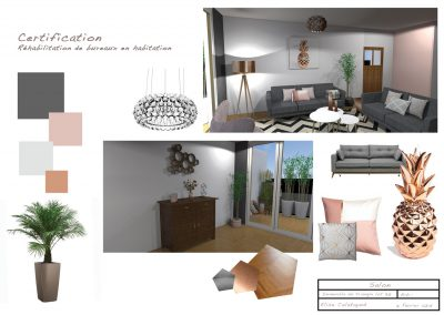 Planche d'ambiance pour la décoration du salon par la déco d'elise