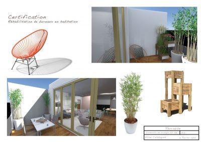 Plan 3 D d'un aménagement de la terrasse de l'appartement par la déco d'élise