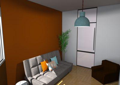 Vue 3 D de l'aménagement du bureau par la déco d'élise