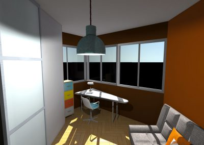 Vue 3 D du projet d'aménagement du bureau par la déco d'élise