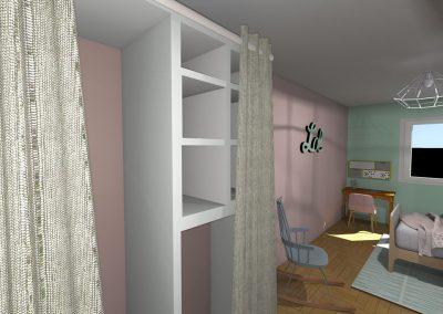 Plan 3 D du projet d'aménagement de la chambre de la jeune fille