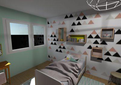 Plan 3 D du projet d'aménagement  de  la chambre de la jeune fille par la déco d'elise