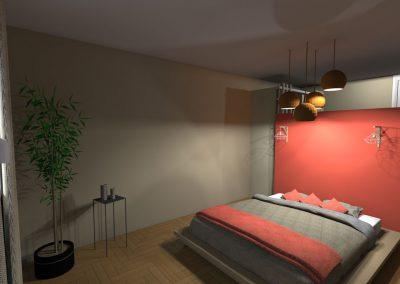 Vue 3 D du projet d'aménagement de la chambre des parents agencée par la déco d'elise