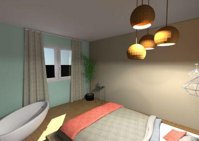 Vue 3 D du projet d'aménagement de la chambre des parents avec baignoire agencée par la déco d'elise