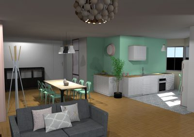 Vue 3 D du projet d'aménagement de la salle à manger créée par la déco d'elise