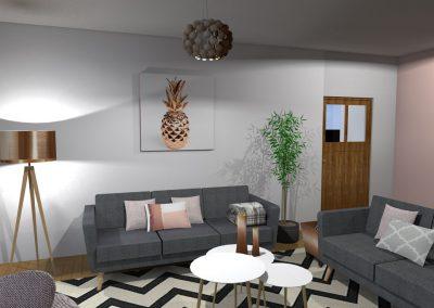 Vue 3 D du projet d'aménagement du salon créée par la déco d'elise