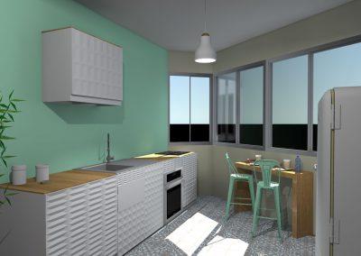 Vue 3 D du projet d'aménagement de la cuisine créée par la déco d'elise