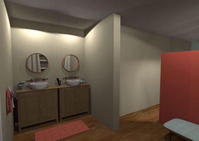 Vue 3 D du projet d'aménagement de la salle de bain de la chambre parentale créée par la déco d'elise
