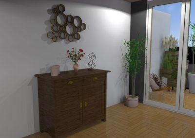 Vue 3 D du projet d'aménagement du salon de l'appartement avec accès sur la terrasse créée par la déco d'elise
